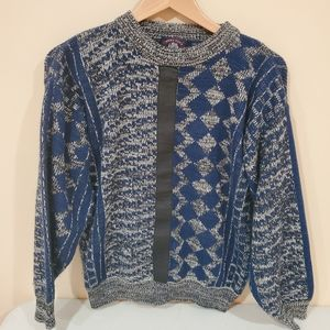 Vintage Chunky Knit Sweater with Leather Accent